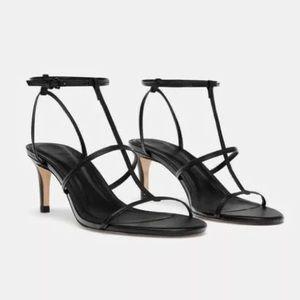 Zara Leather T Strappy Sandal Heels Black EU 39